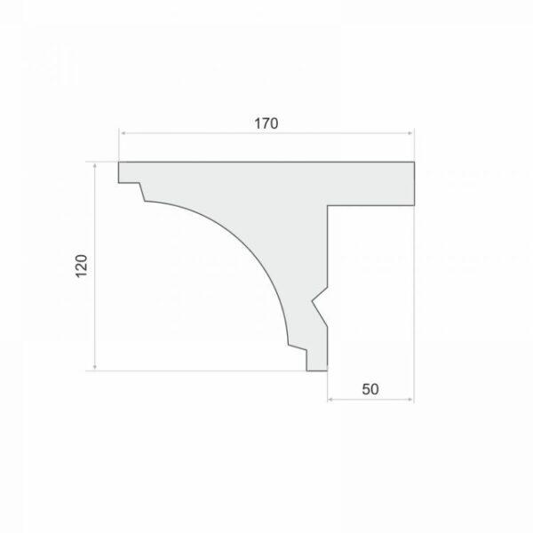 Listwa do maskowania karnisza LKO2 12 cm